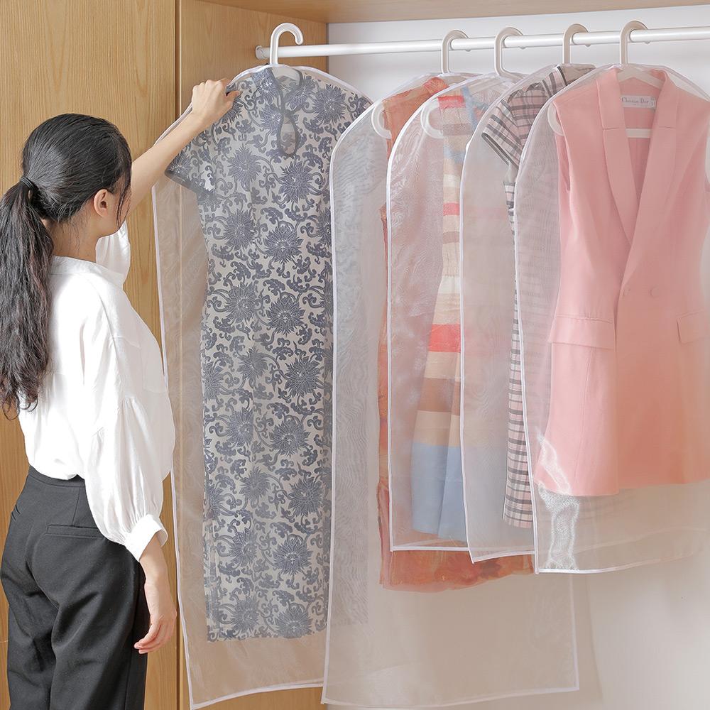 霜山|珍珠軟紗透明衣物/西裝防霉防塵套-長版-2入