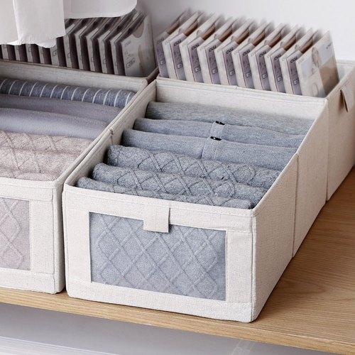 霜山|棉麻布摺疊式分類收納盒(附透窗)-L