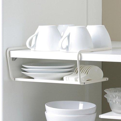 霜山 兩用廚櫃下/桌面分層置物金屬收納架-白