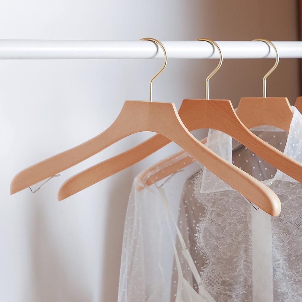霜山|天然木製女用外套/洋裝/兩件式套裝衣架(附肩帶掛鉤)-3入