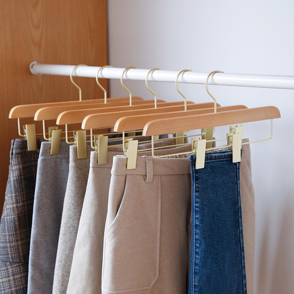 霜山 天然木製防滑可調節褲子/衣裙掛架-3入