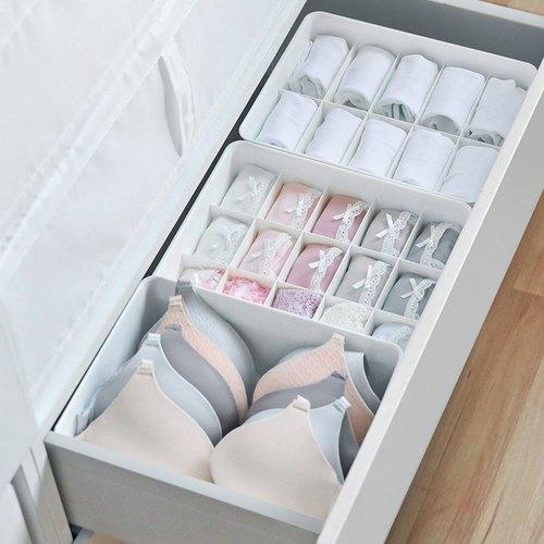 霜山 多功能分隔內衣/內褲/襪子PP收納盒附蓋-3件套組
