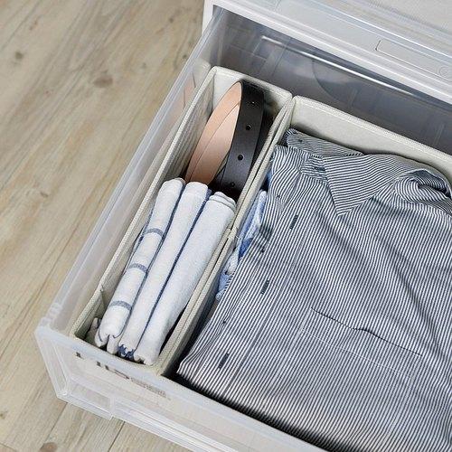 霜山|衣櫃抽屜用單格分類收納布盒-面寬9cm-2入