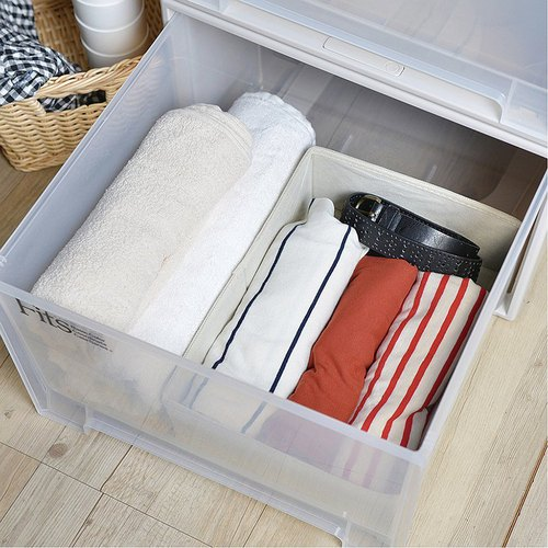 霜山|衣櫃抽屜用單格分類收納布盒-面寬24cm-2入
