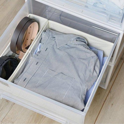 霜山|衣櫃抽屜用單格分類收納布盒-面寬30cm-2入