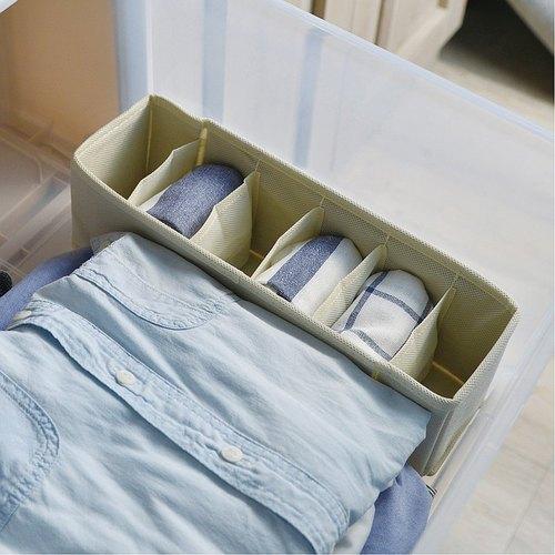霜山 衣櫃抽屜用6小格分類收納布盒-面寬9cm-2入