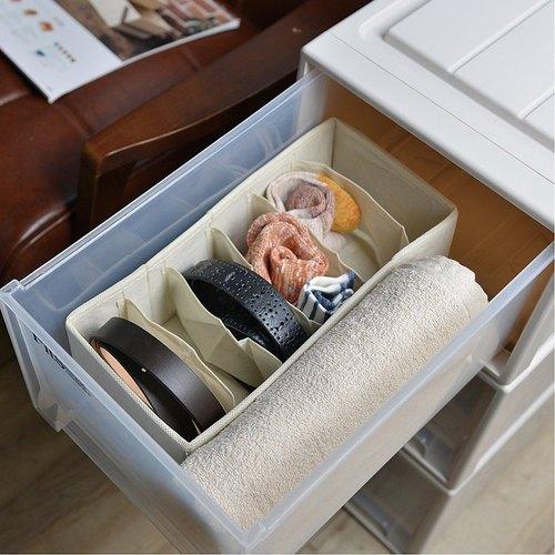 霜山 衣櫃抽屜用6小格分類收納布盒-面寬15cm-2入