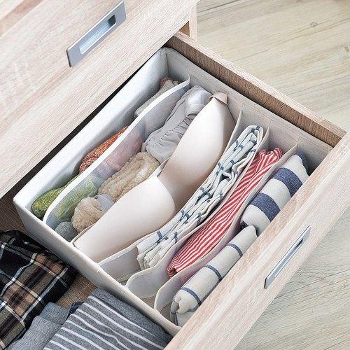 霜山|衣櫃抽屜用6小格分類收納布盒-面寬30cm-2入