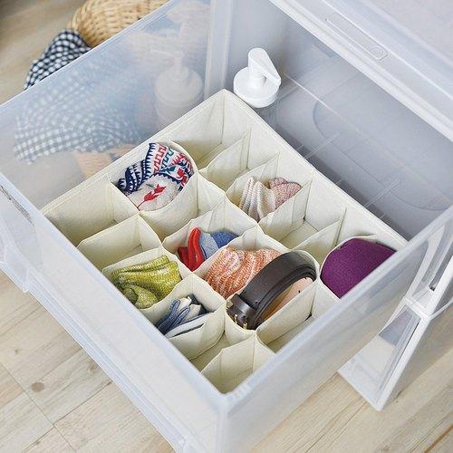 霜山 衣櫃抽屜用18小格分類收納布盒-面寬30cm-2入
