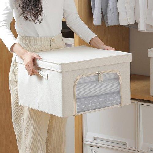 霜山 亞麻風雙開兩用可折疊衣物收納箱(附透窗)-3入