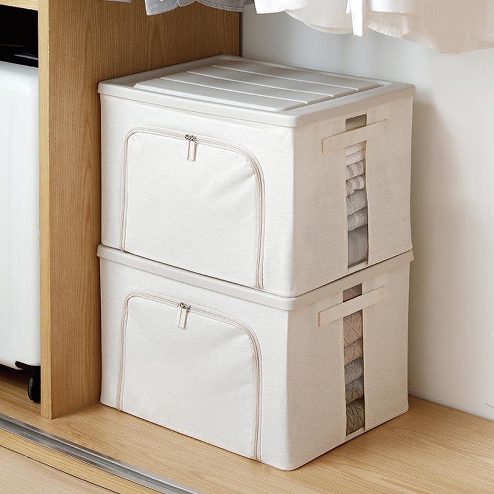 霜山|防潑水強固掀蓋式亞麻布衣物收納箱附透窗-68L-2入