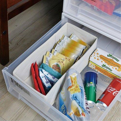 霜山|衣櫃抽屜用單格分類收納布盒-面寬15cm-2入