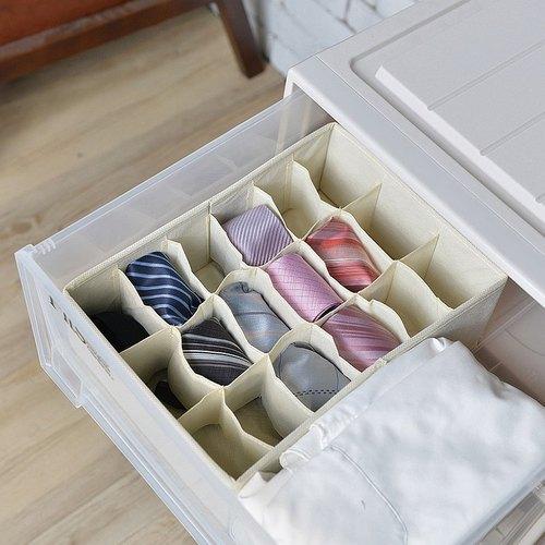 霜山|衣櫃抽屜用18小格分類收納布盒-面寬24cm-2入