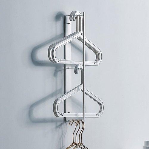 霜山 萬用免鑽牆面/側面衣架收納金屬掛架-白