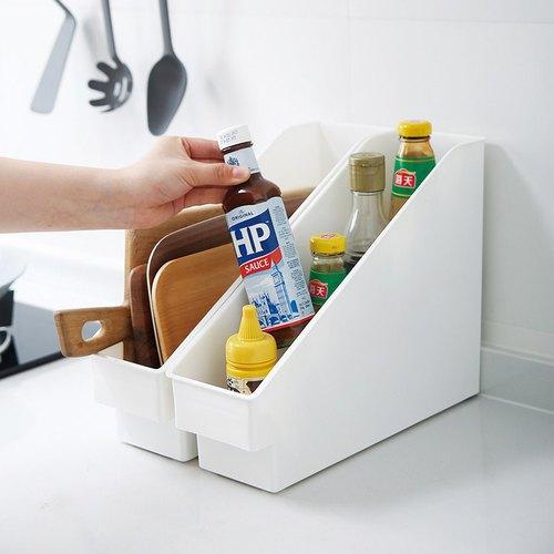 霜山 斜取式廚櫃隙縫多功能收納盒(附輪)-3入