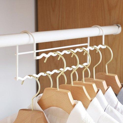 霜山|高低錯位衣櫃掛桿金屬掛衣架-白-2入