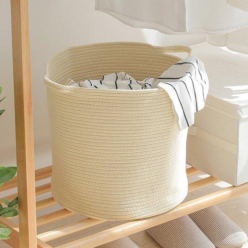霜山|亞麻風棉線編織圓形洗衣收納籃-附手把