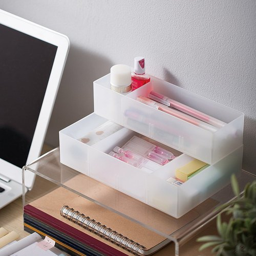 霜山|可疊分隔式桌面抽屜霧透PP收納盒-小-3入(送分隔片12入)