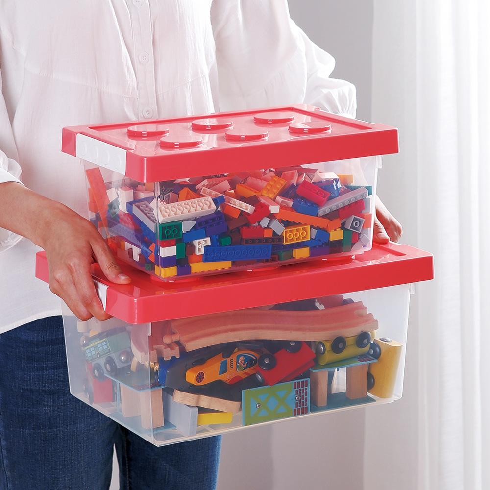 霜山|樂高可疊式積木玩具收納盒-9L-3入-4色可選