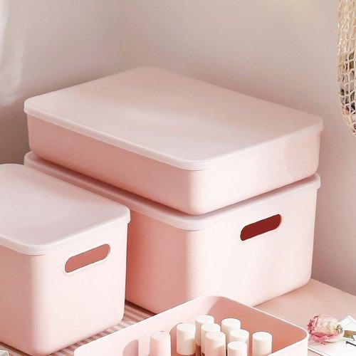 霜山|無印風霧面附蓋扁形收納盒-櫻花粉-L-3入