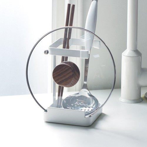 霜山|多功能金屬廚具湯杓鍋蓋收納架-白