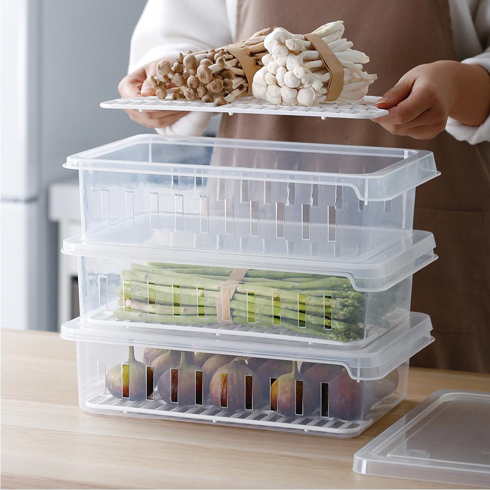 霜山 可疊式冰箱生鮮/蔬果冷藏冷凍保鮮盒-3入
