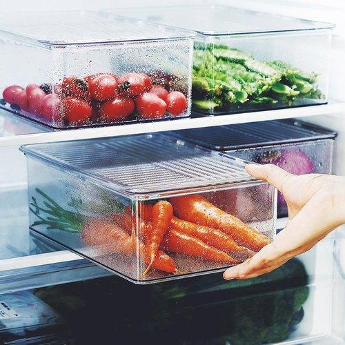 霜山|掀蓋式層疊PET耐凍冰箱蔬果生鮮收納盒-3入