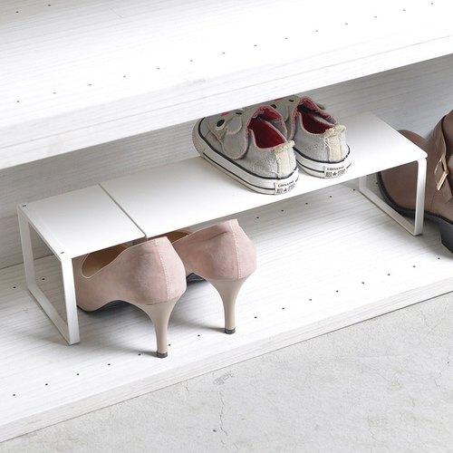 霜山|萬用伸縮式金屬分層置物/展示/鞋靴架-白-DIY