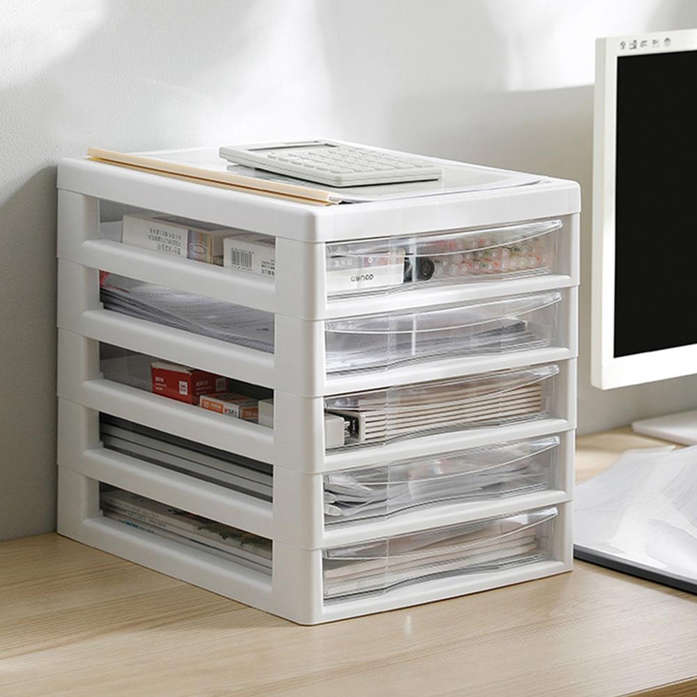 霜山|日系辦公桌上型A4文件收納櫃-5低抽-白