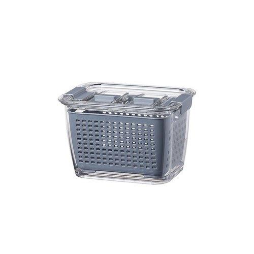 霜山 雙層蔬果瀝水冰箱保鮮盒附密封蓋-480ml-3入