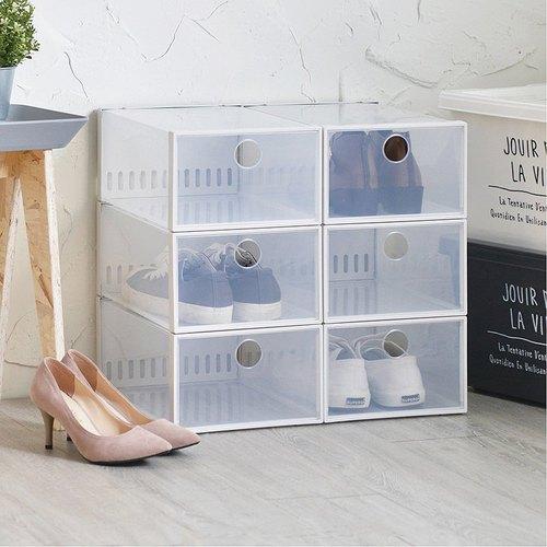 霜山 加高款前開式防臭層疊透明鞋靴收納盒-6入
