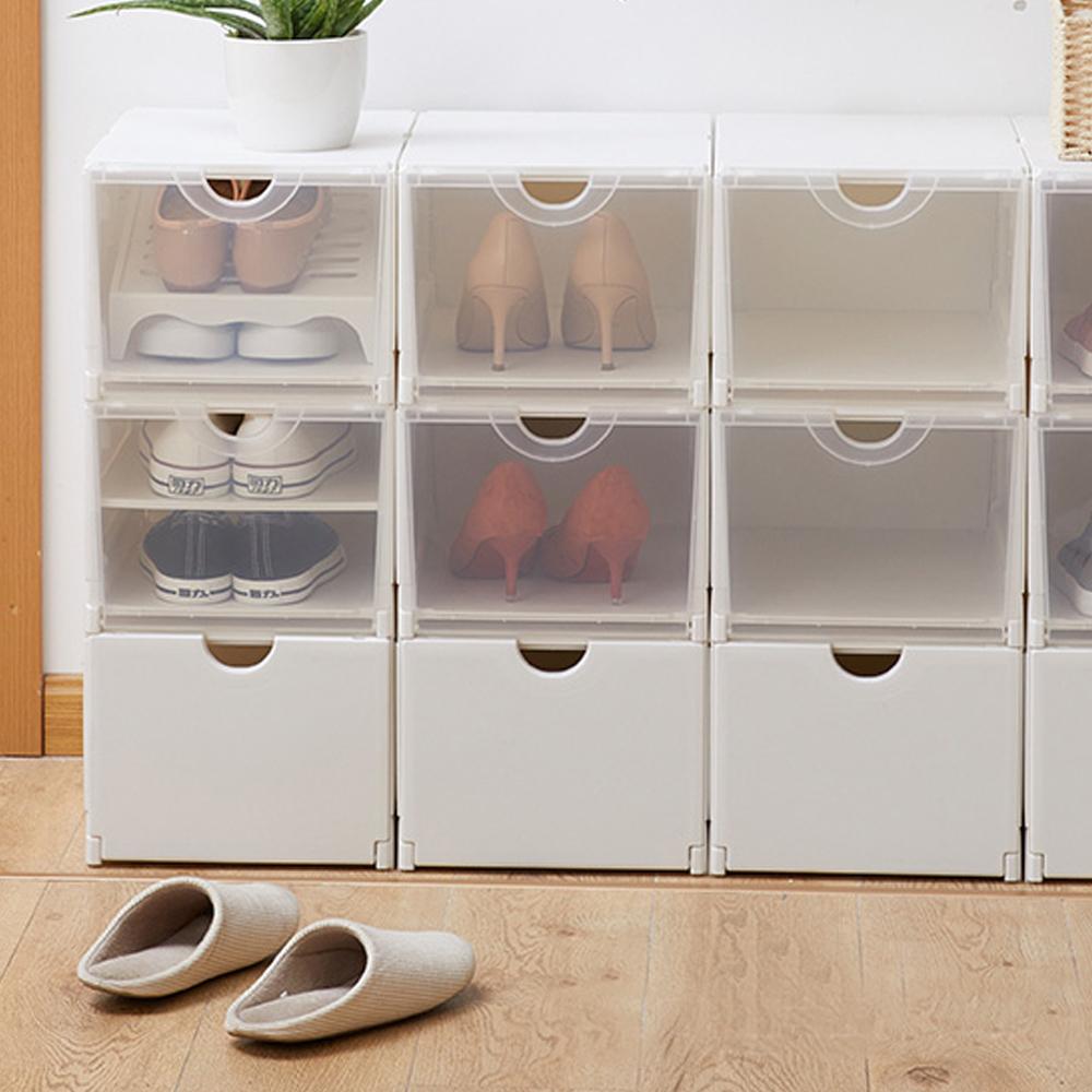 霜山|雙向掀蓋式耐固層疊鞋靴收納盒-4入