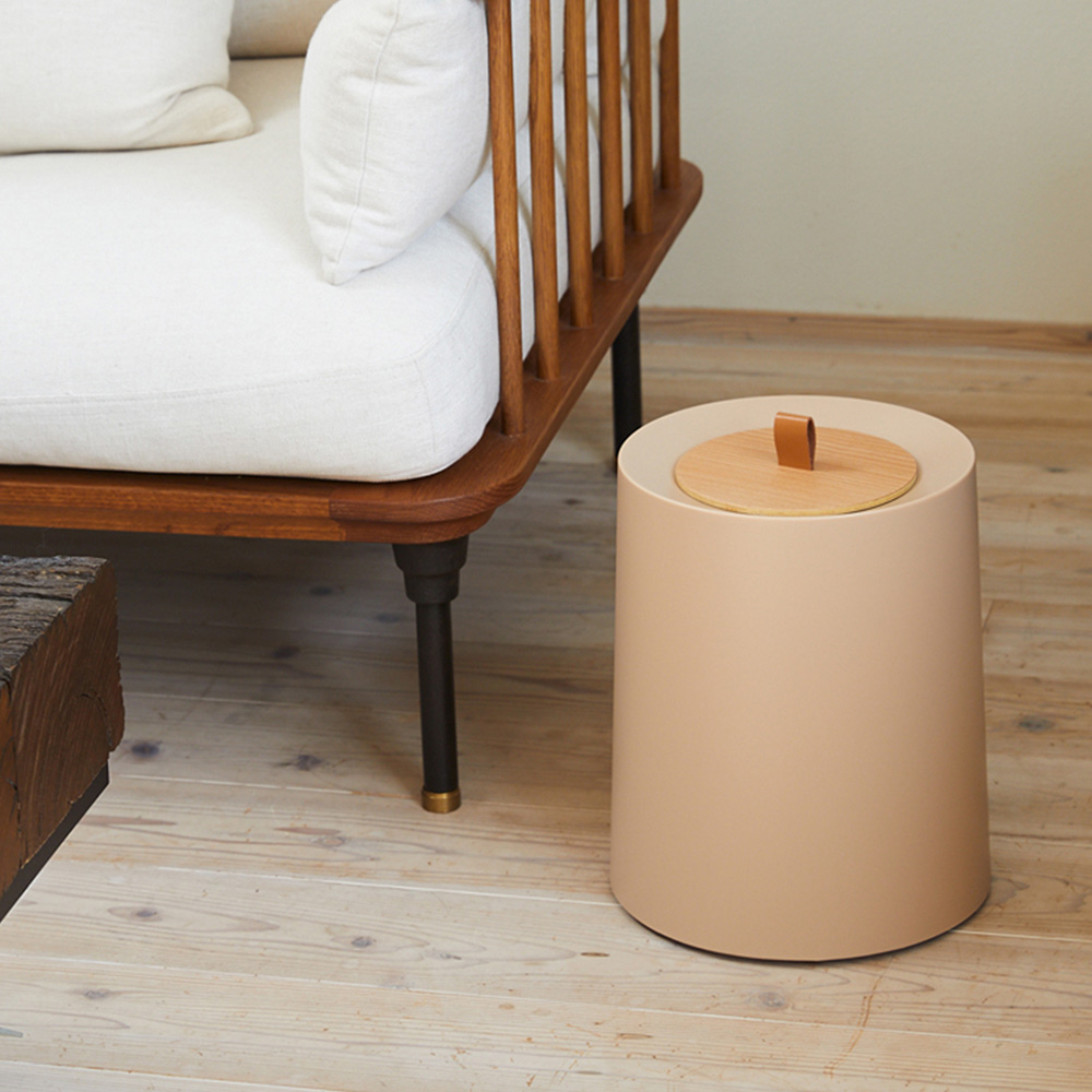 IDEACO|圓形家用垃圾桶-11.4L(附專用原木蓋)