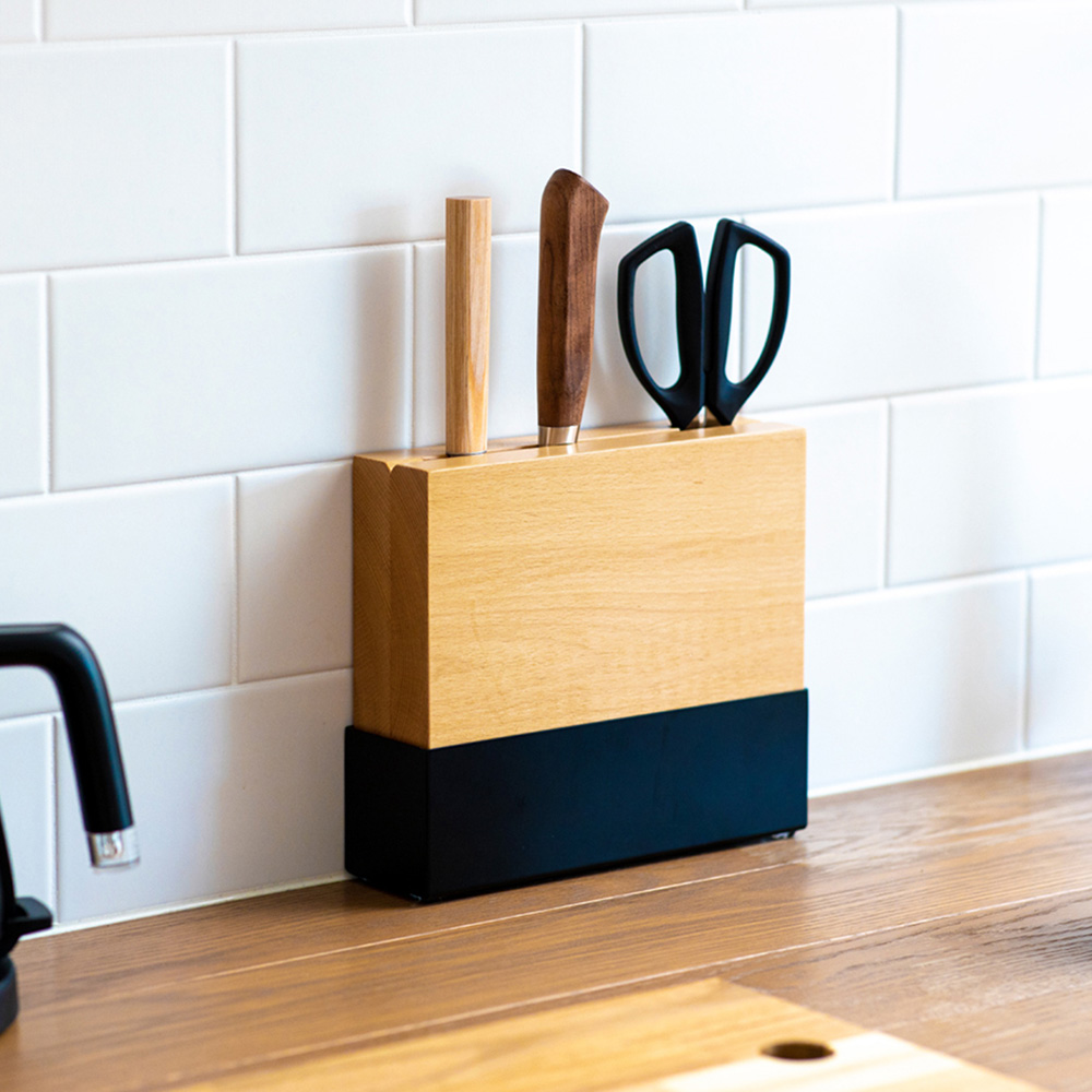 ideaco 原木金屬分離式刀具瀝水收納座