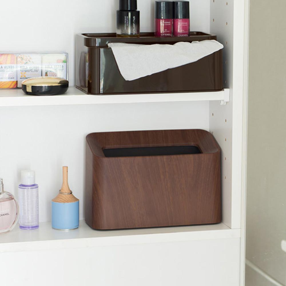 IDEACO|胡桃木紋纖形斜口桌邊置物/垃圾桶-1.7L