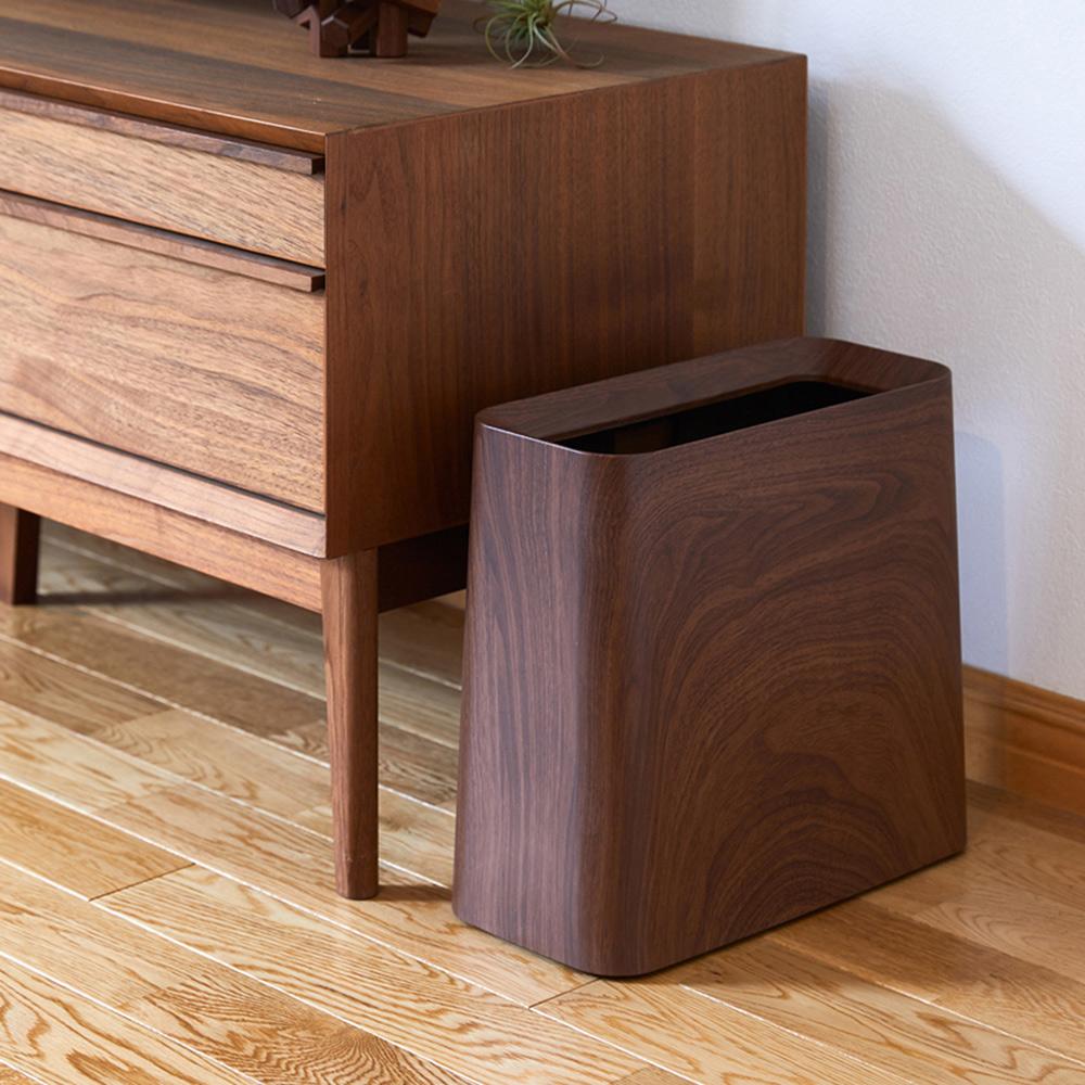 ideaco|胡桃木紋方形家用垃圾桶-11.5L
