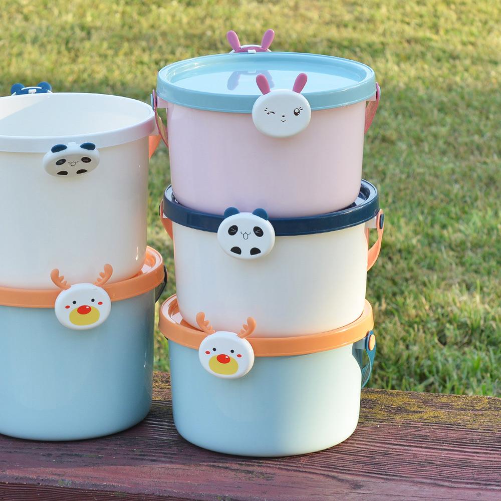 +O家窩|動物造型卡扣戲水/玩具收納桶附蓋-小-3入-3款動物可選