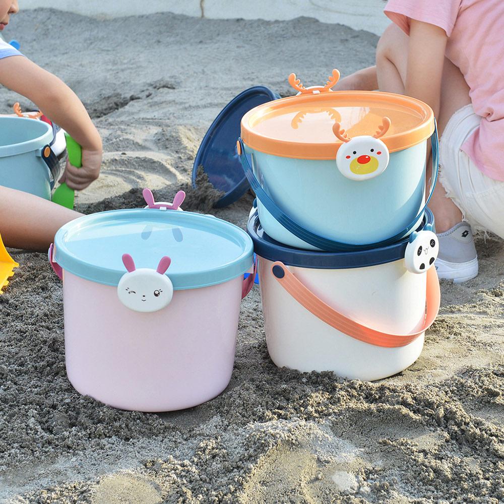 +O家窩 動物造型卡扣戲水/玩具收納桶附蓋-大-3入-3款動物可選