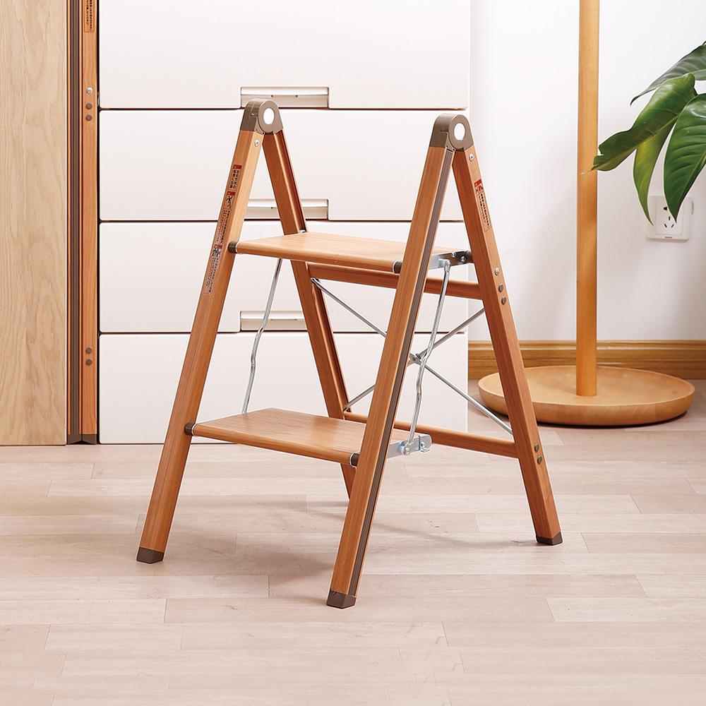 天馬|木紋家用便攜式鋁合金二層折疊梯-棕色