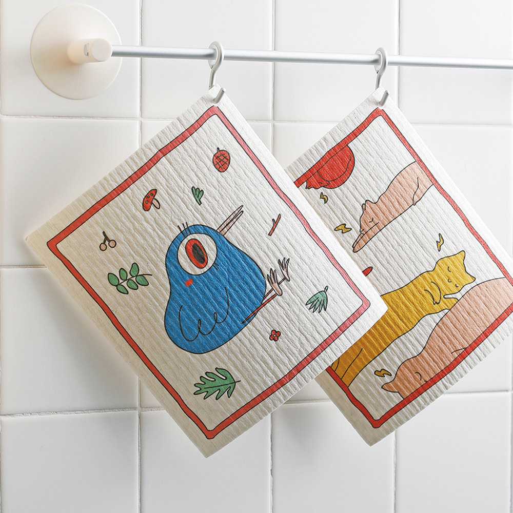 霜山|印花風乾濕兩用木漿棉清潔/抹布/洗碗布-4張入組