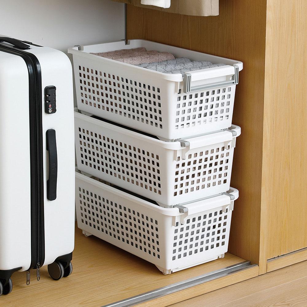 霜山 移動式可層疊萬用收納/洗衣籃-3入 (層疊收納架/廚房/衣物整理皆可用)