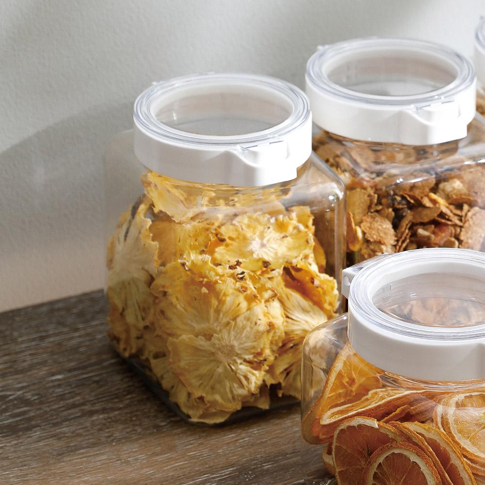 霜山 PET廚房按壓快掀式食材透明密封罐-1500ml-3入 (可防潮/保鮮)