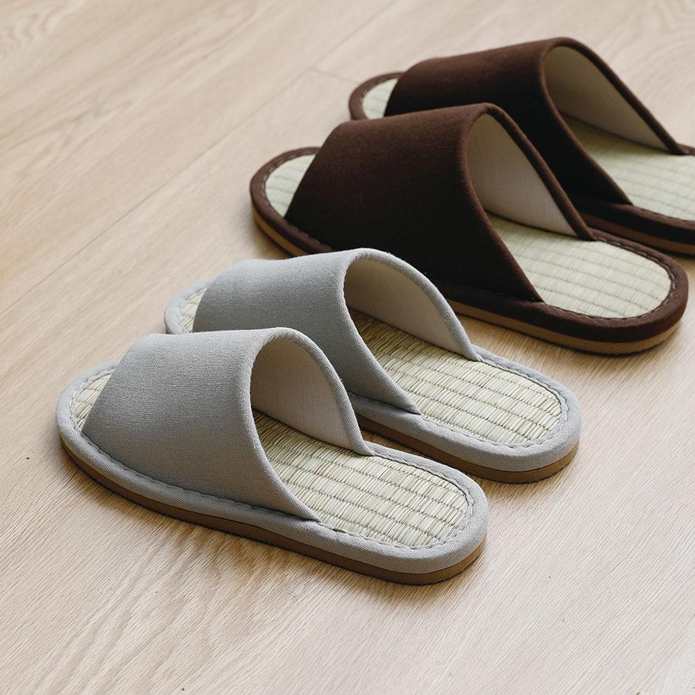 霜山|EVA和風布藝透氣涼爽室內竹蓆拖鞋(男女款可選)