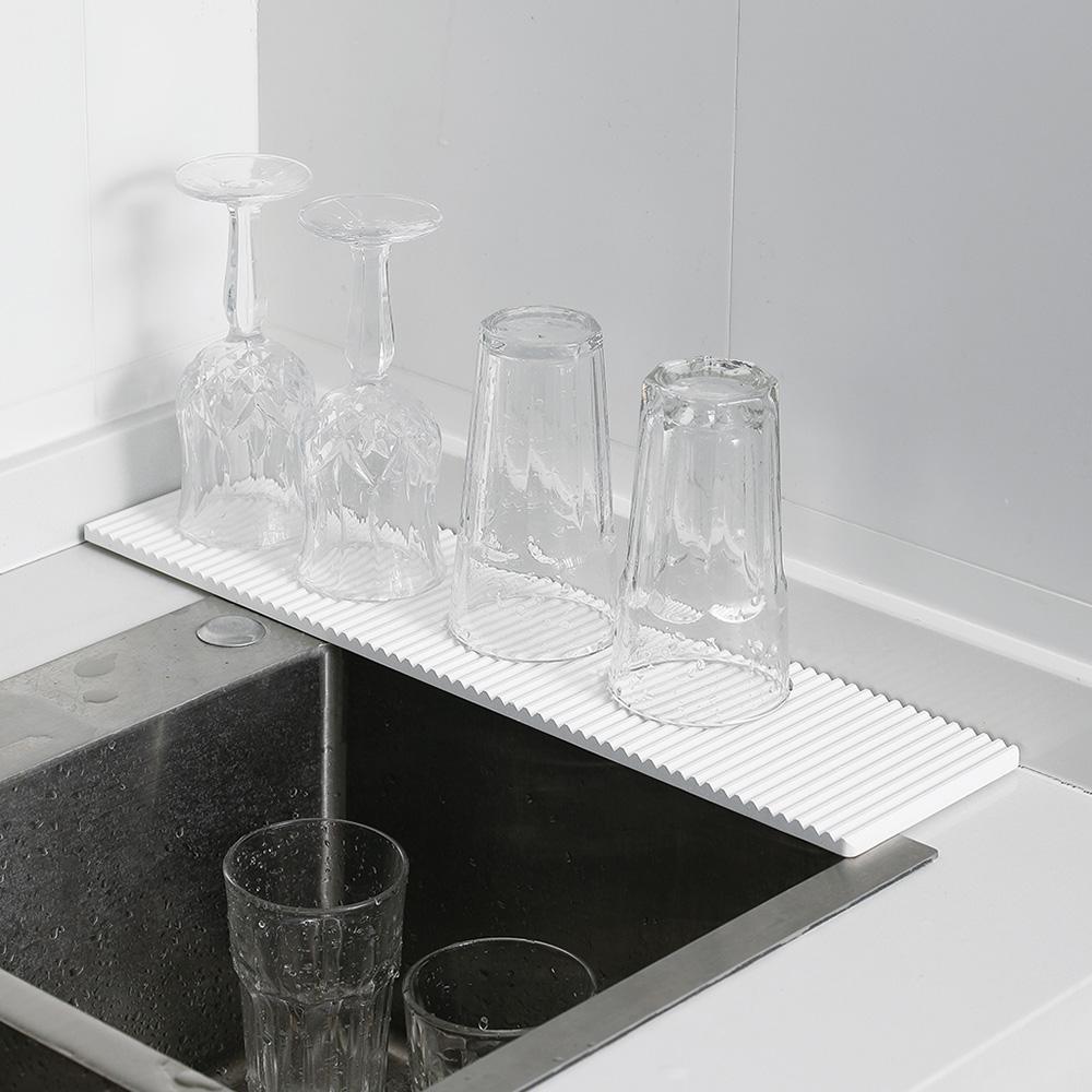 霜山|波浪形纖長洗手台/廚房速乾珪藻土吸水墊