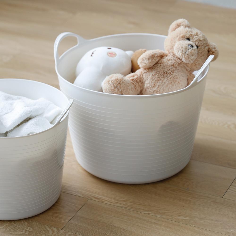 霜山|手提式柔軟防水圓形洗衣/玩具收納籃-25L