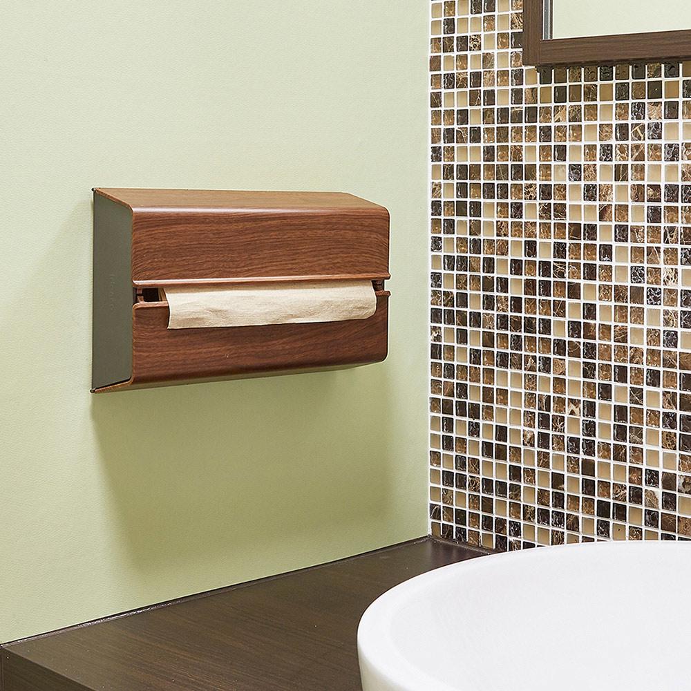IDEACO|胡桃木紋ABS壁掛/桌上兩用擦手紙架