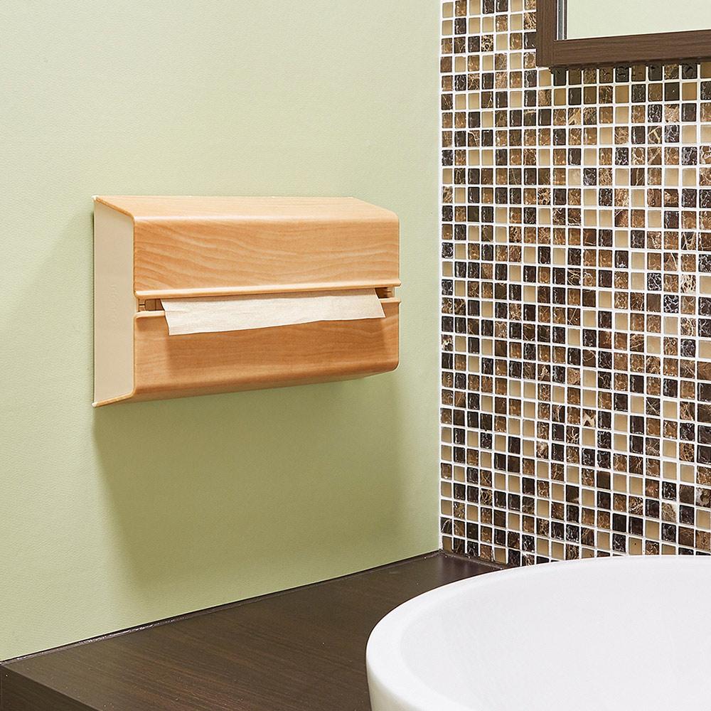 IDEACO|橡木紋ABS壁掛/桌上兩用擦手紙架