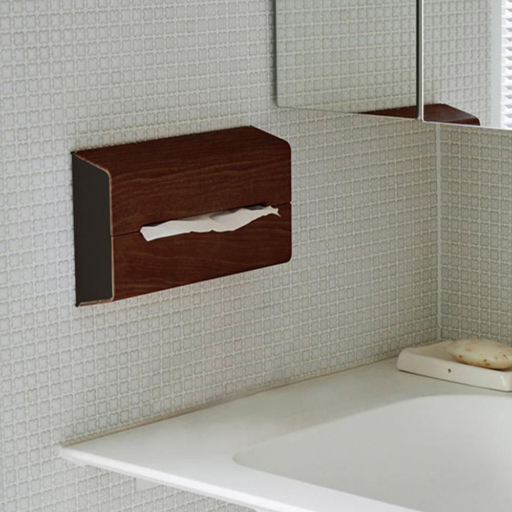 IDEACO|胡桃木紋ABS壁掛/桌上兩用面紙架