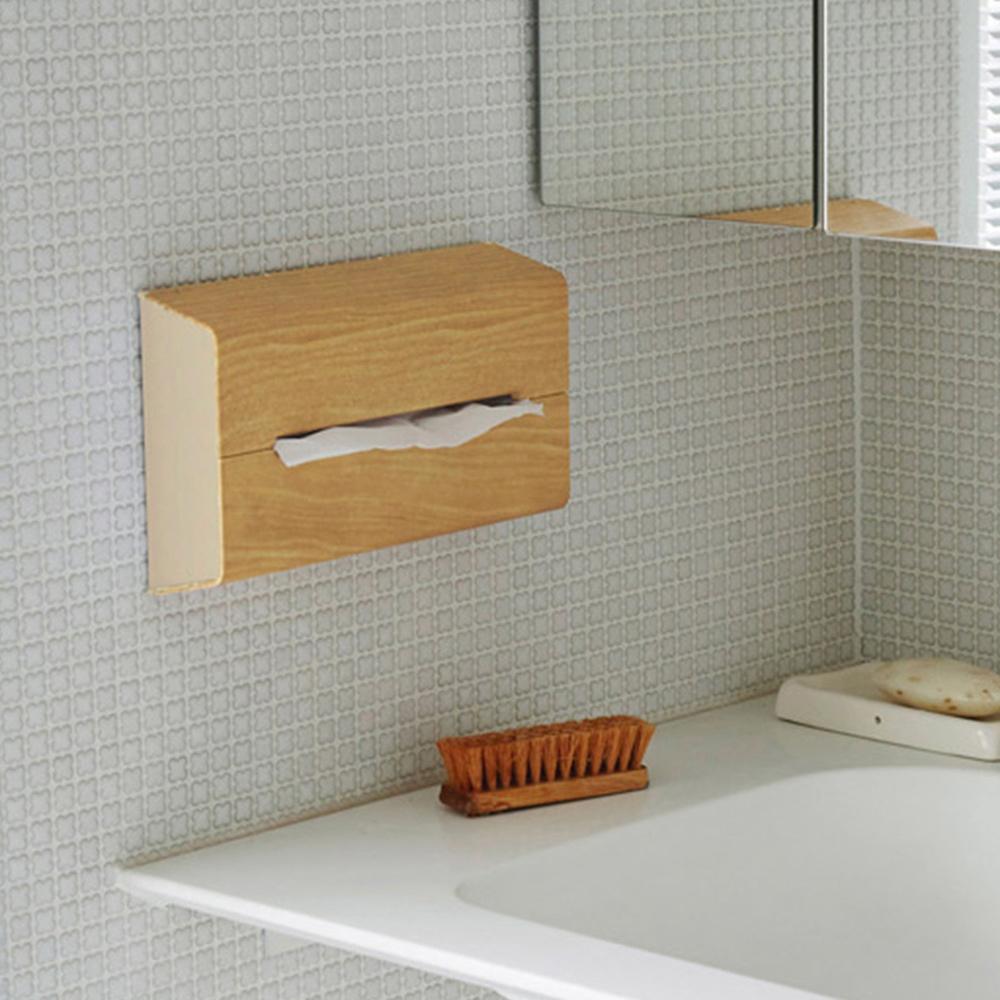 IDEACO|橡木紋ABS壁掛/桌上兩用面紙架