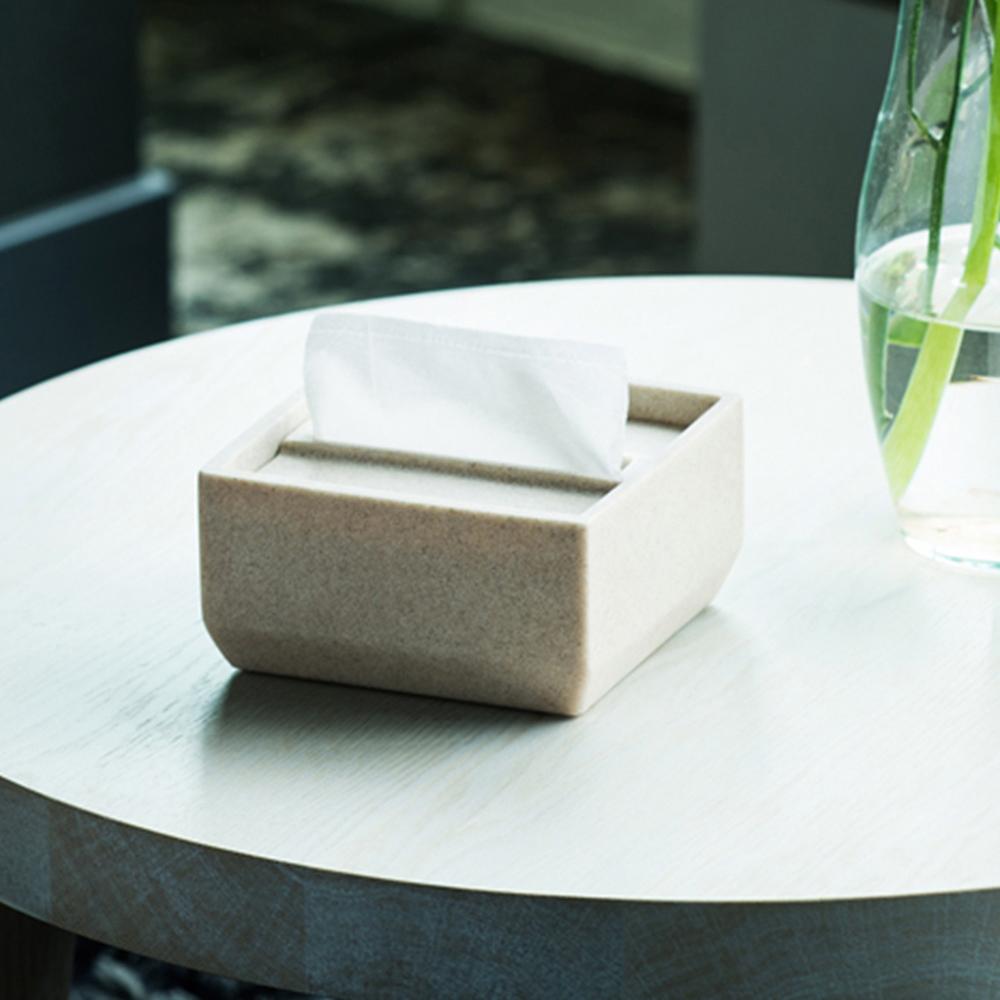 IDEACO|方形下降式沉蓋砂岩餐巾紙盒